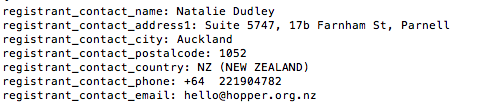 whois record for hopper.org.nz